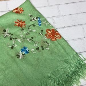 Kim Green Embroidered Fringed Wrap Scarf